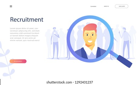 Human Resources, Recruitment Concept for web page, banner, presentation, social media, documents, cards, posters. Vector illustration HR, searching, Looking for talent, monitoring, job hunting, CV