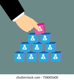 Human resources and recruitment concept.Hand of businessman building blocks of team-vector