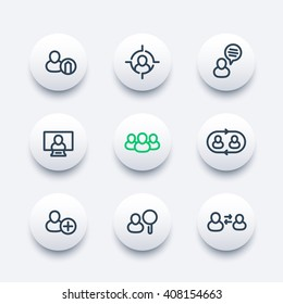 Human resources round modern icons, hrm, personnel management, staff rotation, coaching, hiring, vacancy, thick line icons set, vector illustration