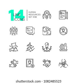 Human resources - set of line design style icons isolated on white background. Minimalistic black pictograms. Work group, unity, project team, CV, leadership, cooperation, negotiations, candidate