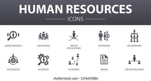 Human Resources simple concept icons set. Contains such icons as job interview, hr manager, outsourcing, resume and more, can be used for web, logo, UI/UX