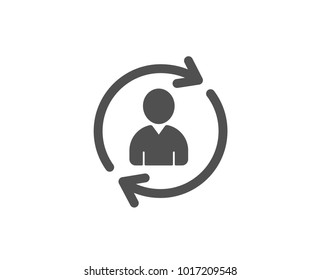 Human Resources simple icon. User Profile sign. Person silhouette symbol. Refresh or Update sign. Quality design elements. Classic style. Vector