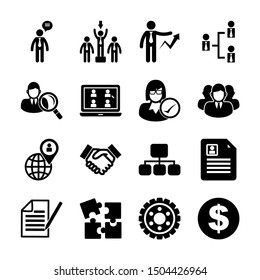 human resources solid icons vector design