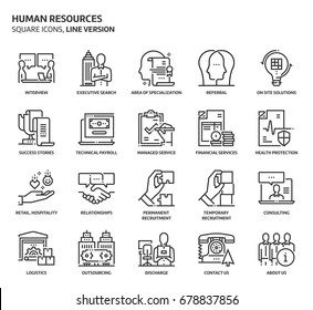 Human resources, square icon set. The illustrations are a vector, editable stroke, thirty-two by thirty-two matrix grid, pixel perfect files. Crafted with precision and eye for quality.