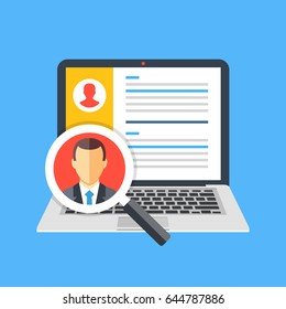Human resources, staffing concept. Laptop with candidates list and magnifying glass with candidate icon. Creative graphic elements. Modern flat design vector illustration