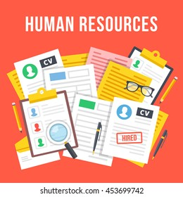 Human resources, team management, hr department, paperwork concept. Top view. Creative flat design graphic elements for web sites, web banners, infographics. Red background. Modern vector illustration