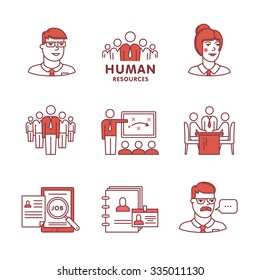 Human resources, team work and building signs set. Thin line art icons. Flat style illustrations isolated on white.