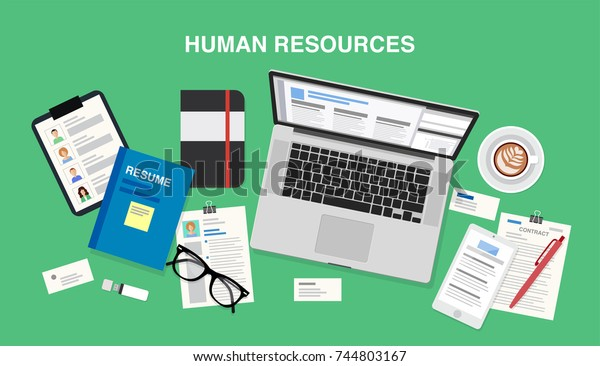 Human resources, top view of a desk with a computer, notepad, coffee cup, resumes, documents, smartphone, pens and pencils. Vector illustration in flat style, template for business