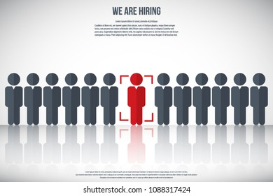 Human resources - we are hiring, poster, web banner, human resources concept, EPS10 vector