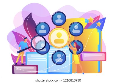 Human resourses managers doing professional staff research with magnifier. Human resources, HR team work and headhunter service concept. Bright vibrant violet vector isolated illustration