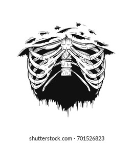 Human rib cage in retro vintage style. Design template for tattoo, print, cover. Vector illustration.