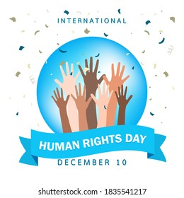 Human right day concept. International peace. Different skin colors hands raised on banner with confetti. Equality awareness icon. Freedom symbol. Cartoon flat on white background.Vector illustration.