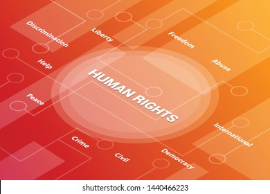 human rights concept words isometric 3d word text concept with some related text and dot connected - vector