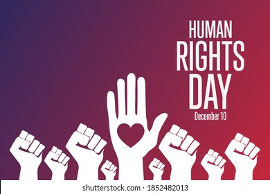 Human Rights Day. December 10. Holiday concept. Template for background, banner, card, poster with text inscription. Vector EPS10 illustration