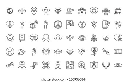 human rights day, line icons set design, included world love peace hands message vector illustration