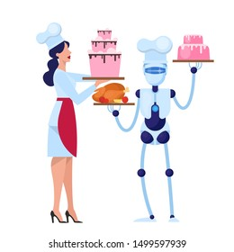 Human and robot chef cooking tasty cake on the kitchen. Cyborg in food industry. Mechanical technology. Isolated vector illustration in cartoon style