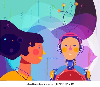 Human and robot concept trendy detailed isolated vector illustration