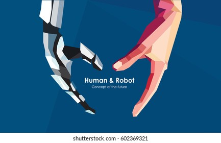 Human and robot hands. Concept of the future. Illustration can be used for artificial intelligence business banner design. Vector illustration