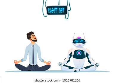 Human and robot meditation. Modern robot influence in human life. Artificial Intelligence Technology Flat Vector Illustration