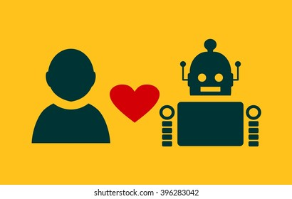 Human and robot relationships. Robotics industry relative image. Heart icon between robot and human