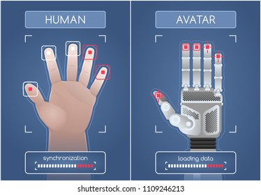 Human To Robot/Avatar Interface. Men's hand and mechanical hand of a robot, synchronizing and interacting via the computer interface. Graphic illustration on the subject of 'Future Technology'.