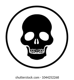 human scull with teeth icon. Death vector flat sign