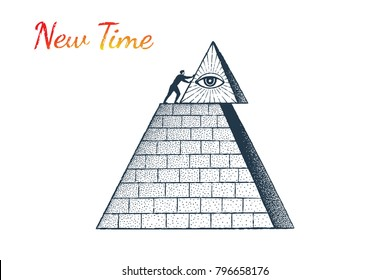 Human shifts the tip of a huge pyramid. Vector business concept illustration, hand drawn sketch. New Time, All-seeing eye, Independence.