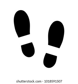 Human shoe footprint icon. Vector footwears. Flat style. Black silhouettes. Illustration isolated on white background.