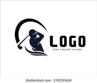 Human silhouette player Golf swing stick logo design inspiration