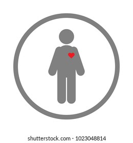Human silhouette with red heart on his body. Vector icon.