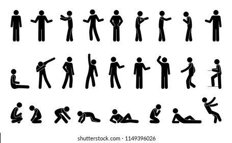 human silhouette, stick set people figure, pictogram person, different gestures and poses, vector isolated icons, man stands, sits, falls, prays, lies