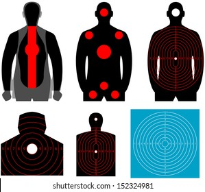 Human silhouette target. Set of human target. The target for shooting at a silhouette of a man on white background
