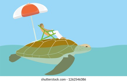 human sitting in a chaise lounge located on turtle