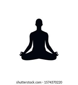 Human sitting in lotus pose, meditation. Vector illustration