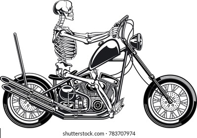human skeleton driving motorcycle