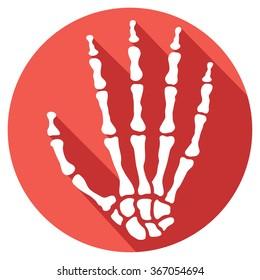 human skeleton hand flat icon