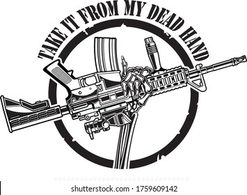human skeleton hand holding ar15 assault rifle