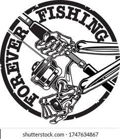 HUMAN SKELETON HOLDING FISHING ROD AND REEL
