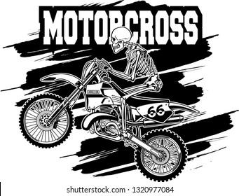 human skeleton on motocross dirt bike