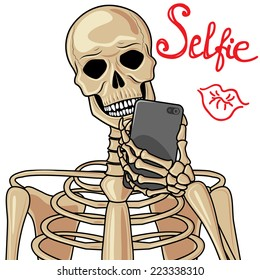Human skeleton with popular devices.