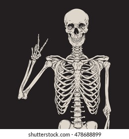 Human skeleton posing isolated over black background vector illustration