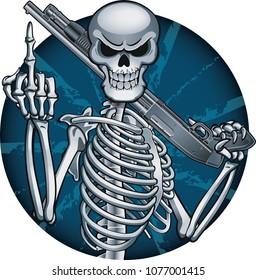 Human Skeleton shows middle finger and holding shotgun