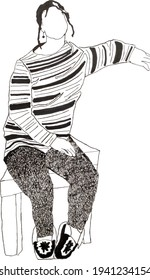 Human sketches sketch graphic material marker and gel pen A girl in a striped sweater pants trousers sits in a relaxed position pensively on her feet national slippers in her ear earring
