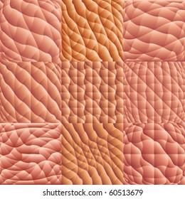 Human skin macro background pattern vector set