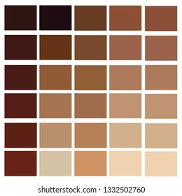 Human skin tone set. Skin color from the darkest brown to the lightest hues, coloring of a person face and body complexion