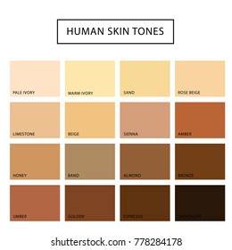 Human skin tone set. Skin color from the darkest brown to the lightest hues, coloring of a person face and body complexion. Vector flat style cartoon illustration