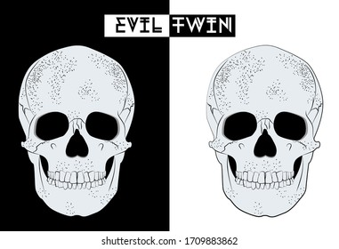Human skull anatomy hand drawing isolated on black and white background