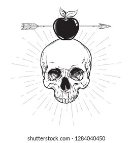 Human skull and apple pierced with arrow line art and dot work. Boho sticker, print or blackwork flash tattoo art design hand drawn vector illustration