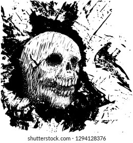 Human skull. Blot stain. Abstract background. Grunge. Vector illustration.