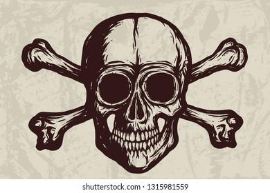 Human skull with bones vector silhouette on grunge background. Hand drawn illustration. Tattoo skull or print design.